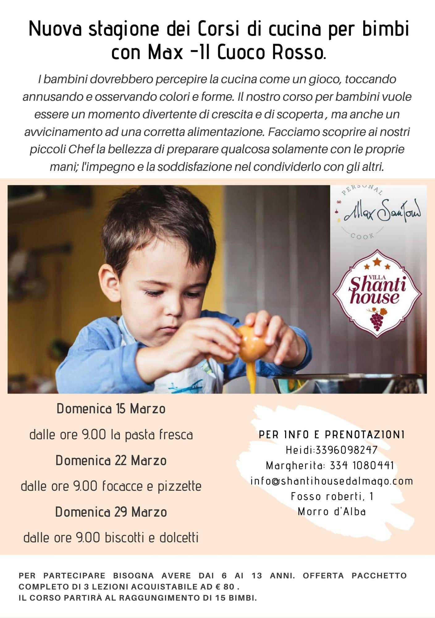 Torna una nuova stagione dei corsi di cucina per bimbi con Max Santoni- Il Cuoco Rosso